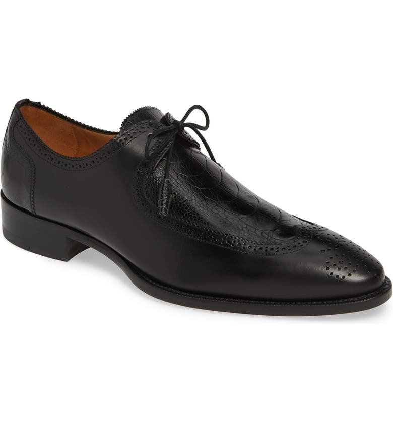 MEZLAN Albano Wingtip, Main, color, BLACK LEATHER/ OSTRICH