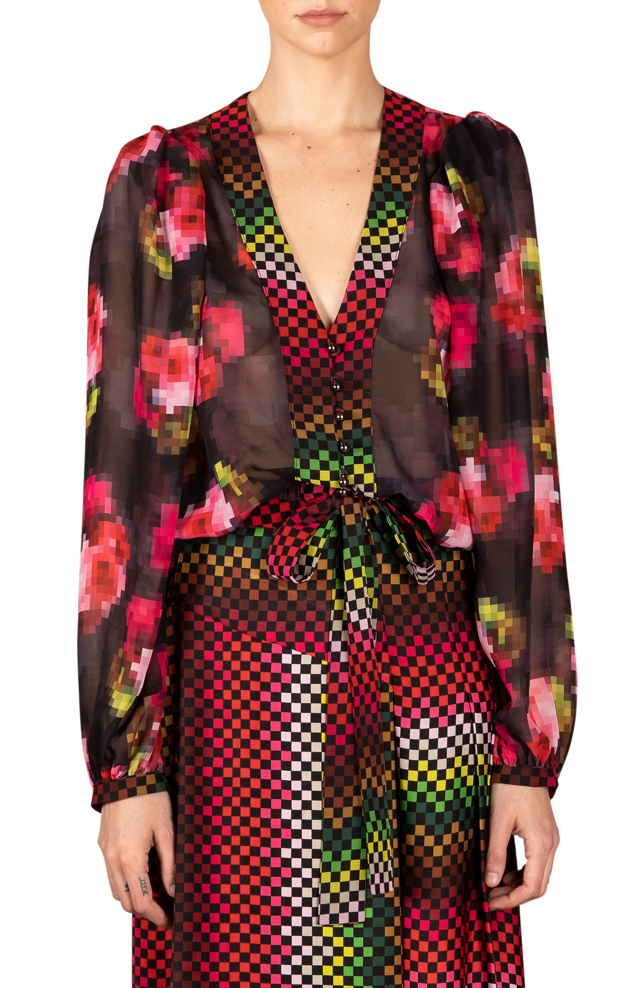 Get Ready Sheer Tie Front Blouse