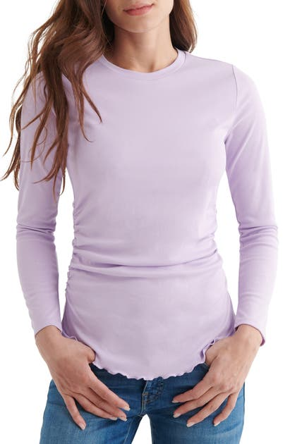 Lucky Brand Tops SANDWASHED RIBBED RUCHED LONG SLEEVE TOP
