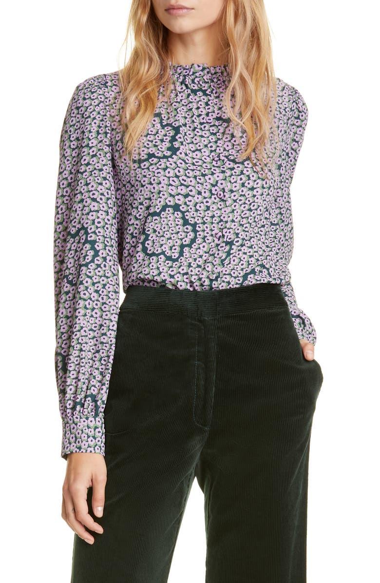 KATE SPADE NEW YORK flair flora ruffle neck long sleeve blouse, Main, color, DEEP SPRUCE