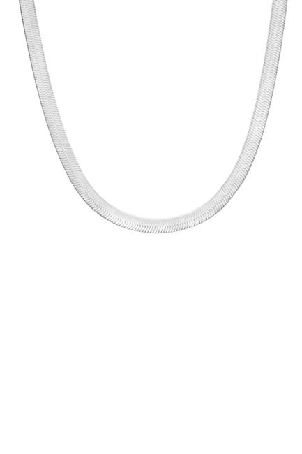 Image of Sphera Milano 14K White Gold Plated Sterling Silver Herringbone Snake Chain Necklace