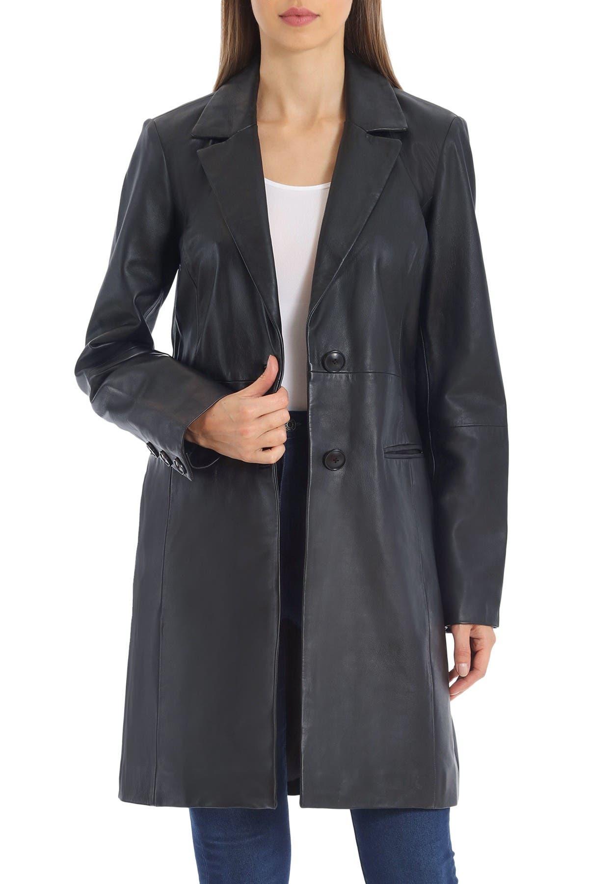 Badgley Mischka Single-Breasted Lamb Leather Jacket