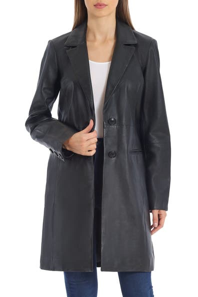 Image of Badgley Mischka Single-Breasted Lamb Leather Jacket