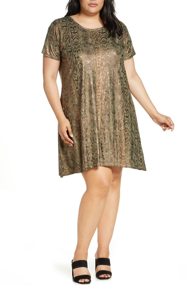 DANTELLE Metallic Snake Print Minidress, Main, color, MILITARY OLIVE SNAKE FOIL