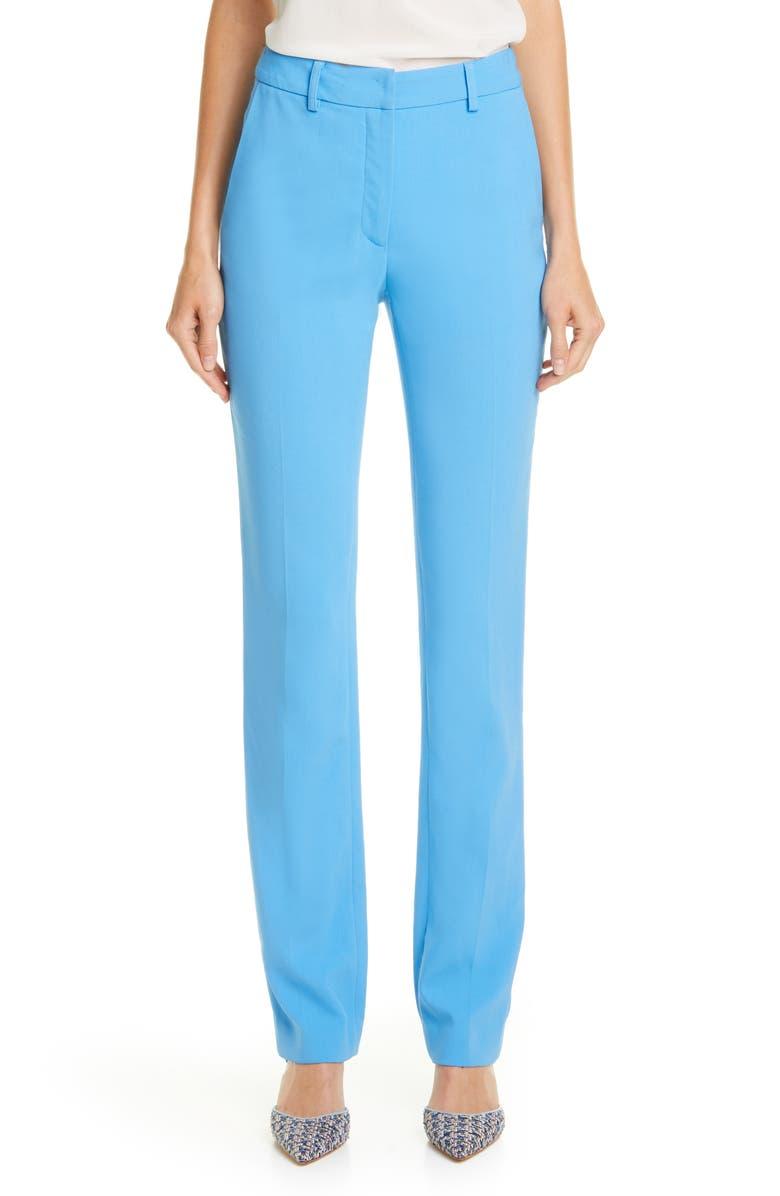 CAROLINA HERRERA Straight Leg Pants, Main, color, AZURE