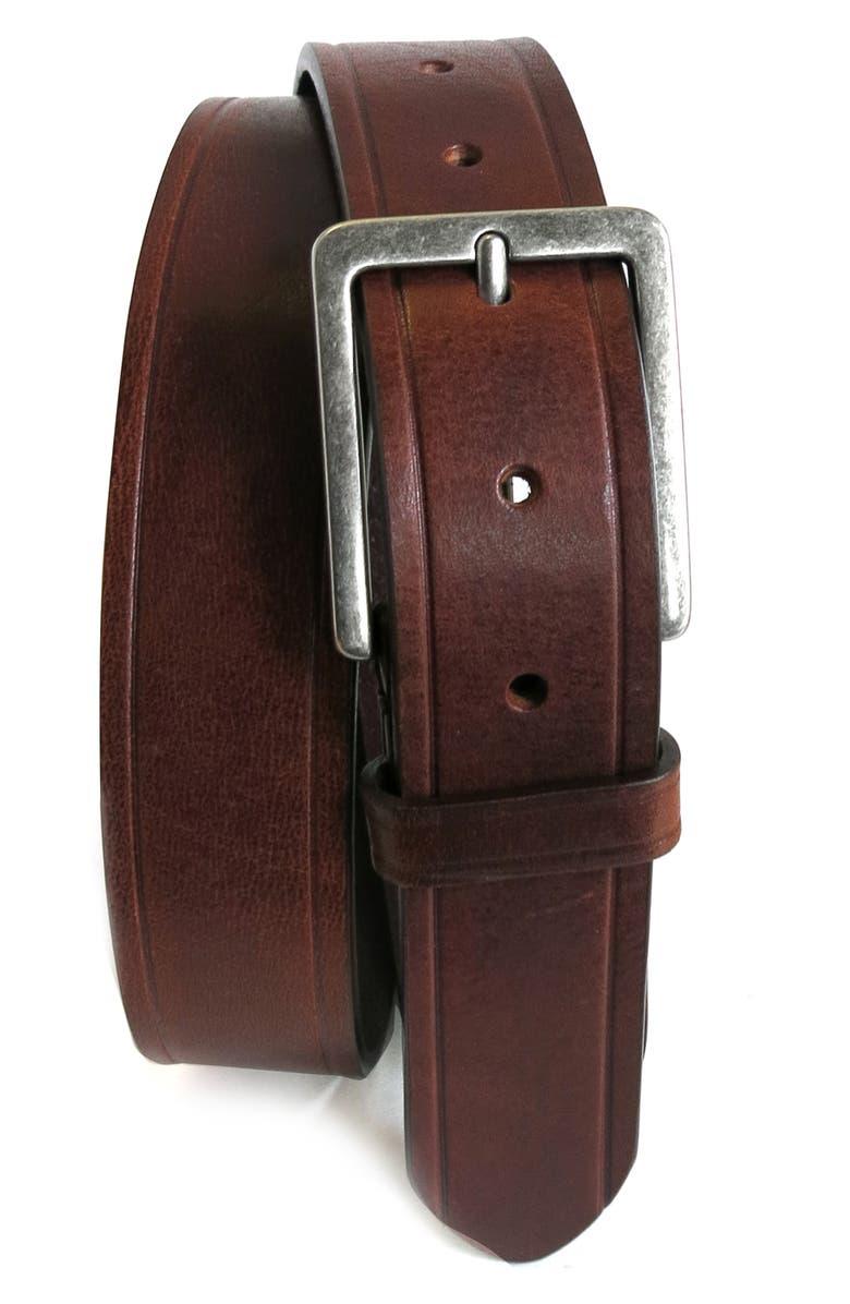 BOCONI Embossed Leather Belt, Main, color, COGNAC