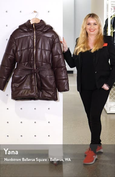 Lenox Faux Leather Belted Puffer Coat, sales video thumbnail