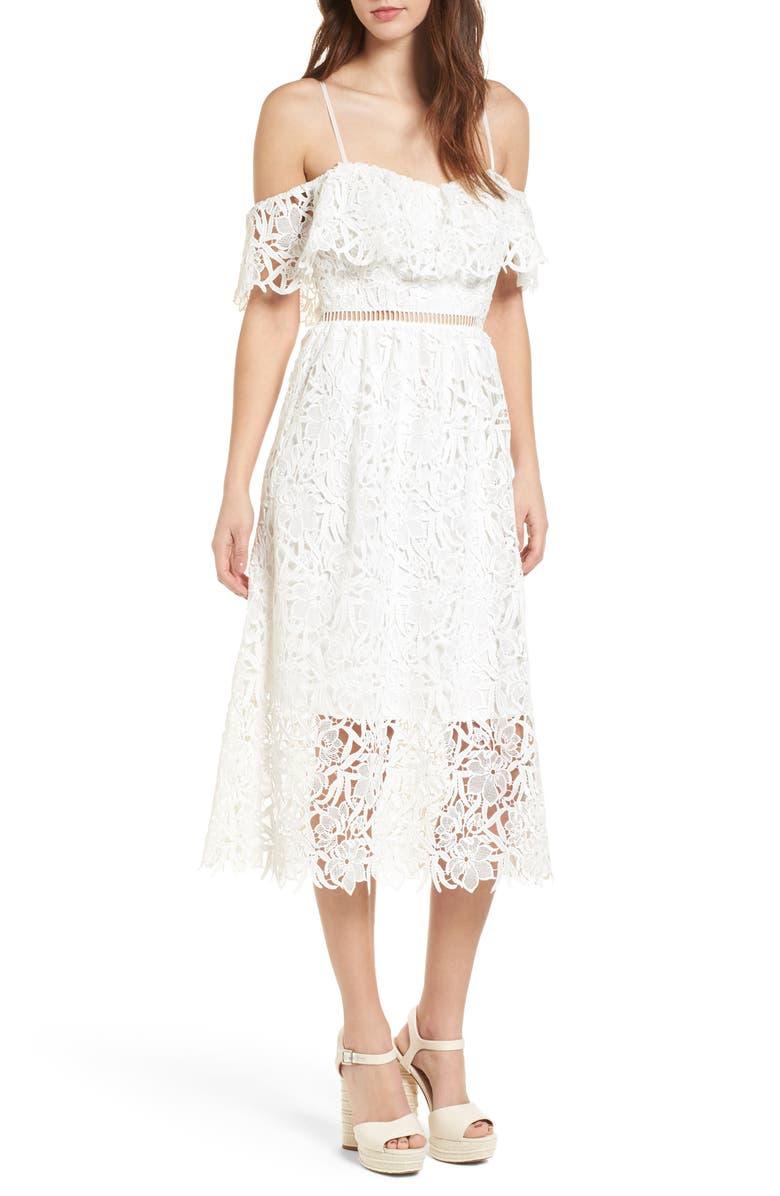 ASTR THE LABEL Lace Off the Shoulder Midi Dress, Main, color, 100