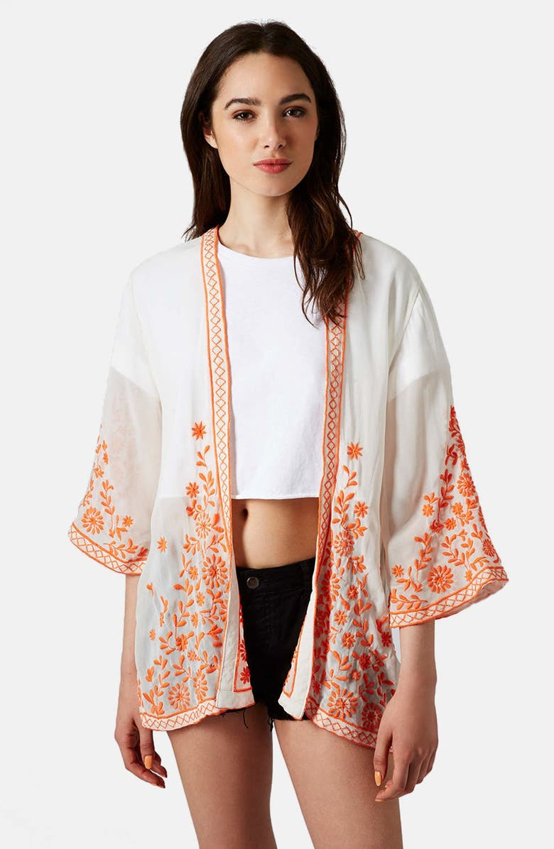 TOPSHOP 'Trailing Flower' Embroidered Kimono Jacket, Main, color, 800
