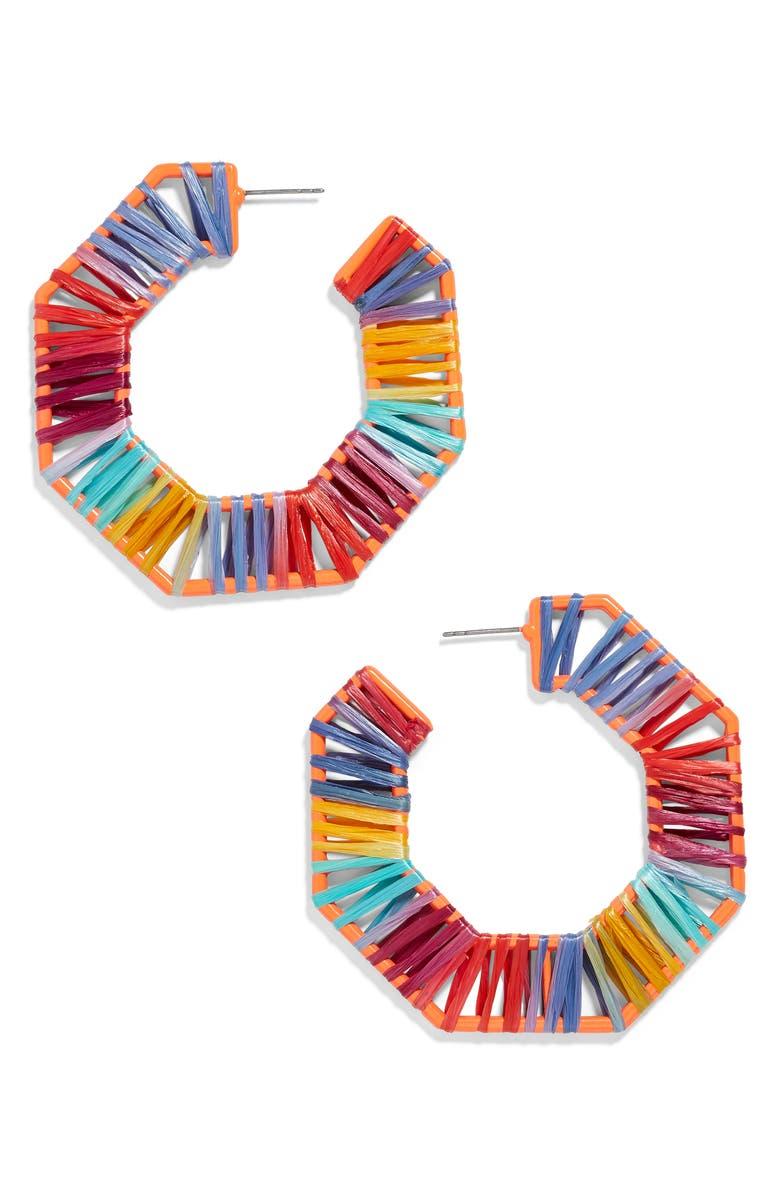 BAUBLEBAR Reinette Raffia Hoop Earrings, Main, color, RED MULTI