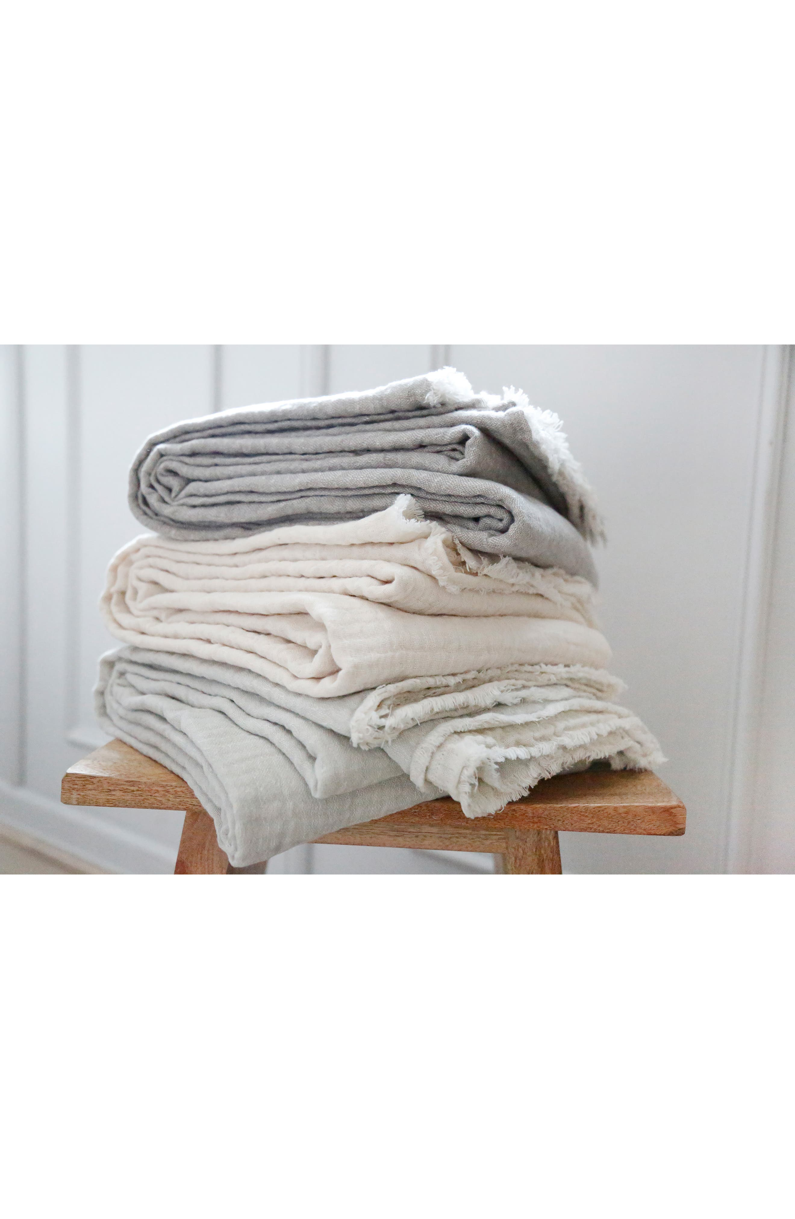 ,                             Hermosa Oversized Cotton & Linen Throw Blanket,                             Alternate thumbnail 2, color,                             LIGHT GREY/ CREAM