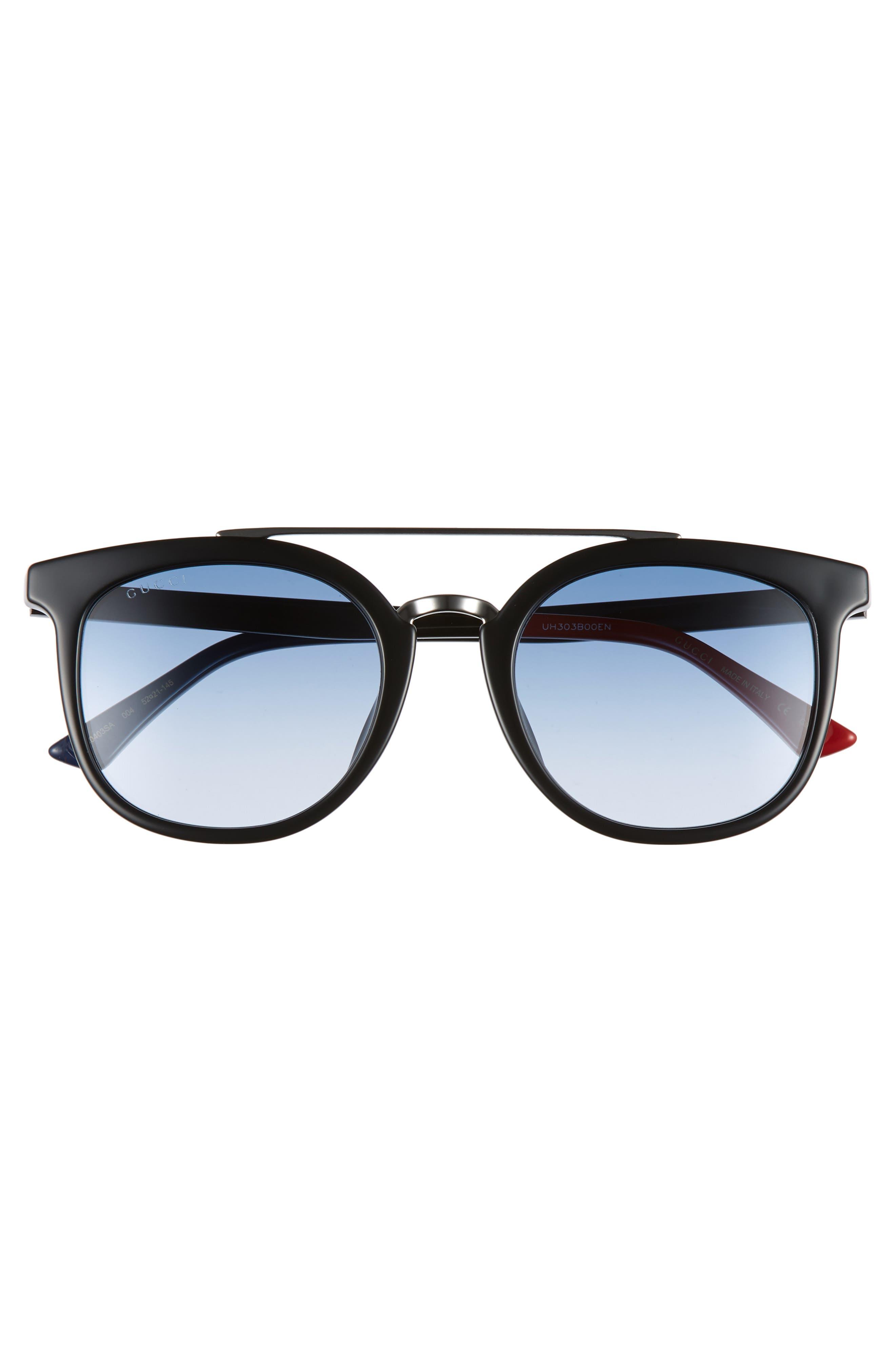 ,                             52mm Round Sunglasses,                             Alternate thumbnail 2, color,                             BLACK/ BLUE