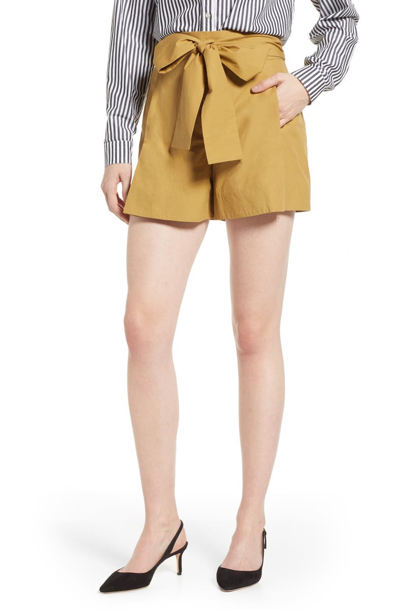 J.CREW Cotton Poplin Tie Waist Shorts, Main, color, KHAKI