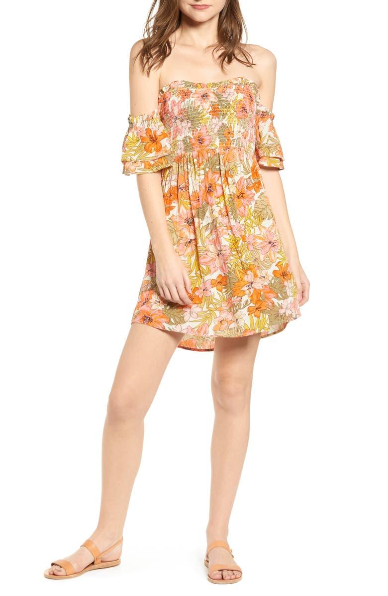 BILLABONG Dancing Sun Off the Shoulder Minidress, Main, color, 300