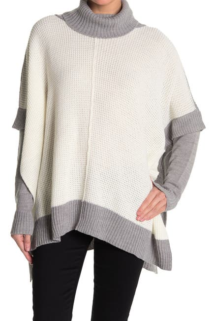 Image of Modern Designer Colorblock Long Sleeve Poncho