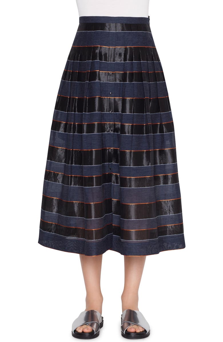 AKRIS PUNTO Stripe Midi Skirt, Main, color, 497