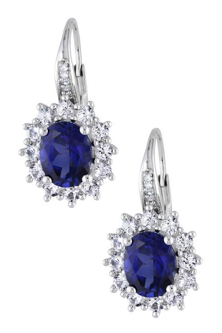 Image of Delmar Sterling Silver Oval Created Blue & White Sapphire Diamond Earrings - 0.04 ctw