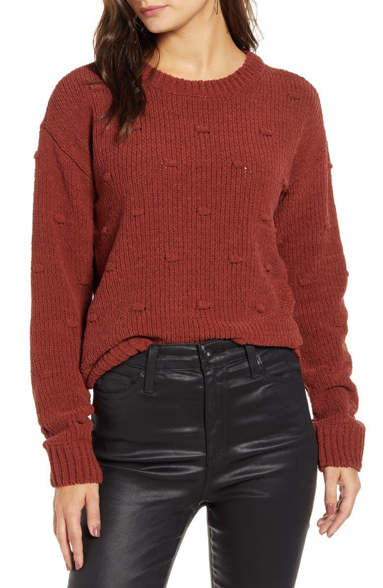VERO MODA Chenille Dot Knit Sweater, Main, color, MADDER BROWN