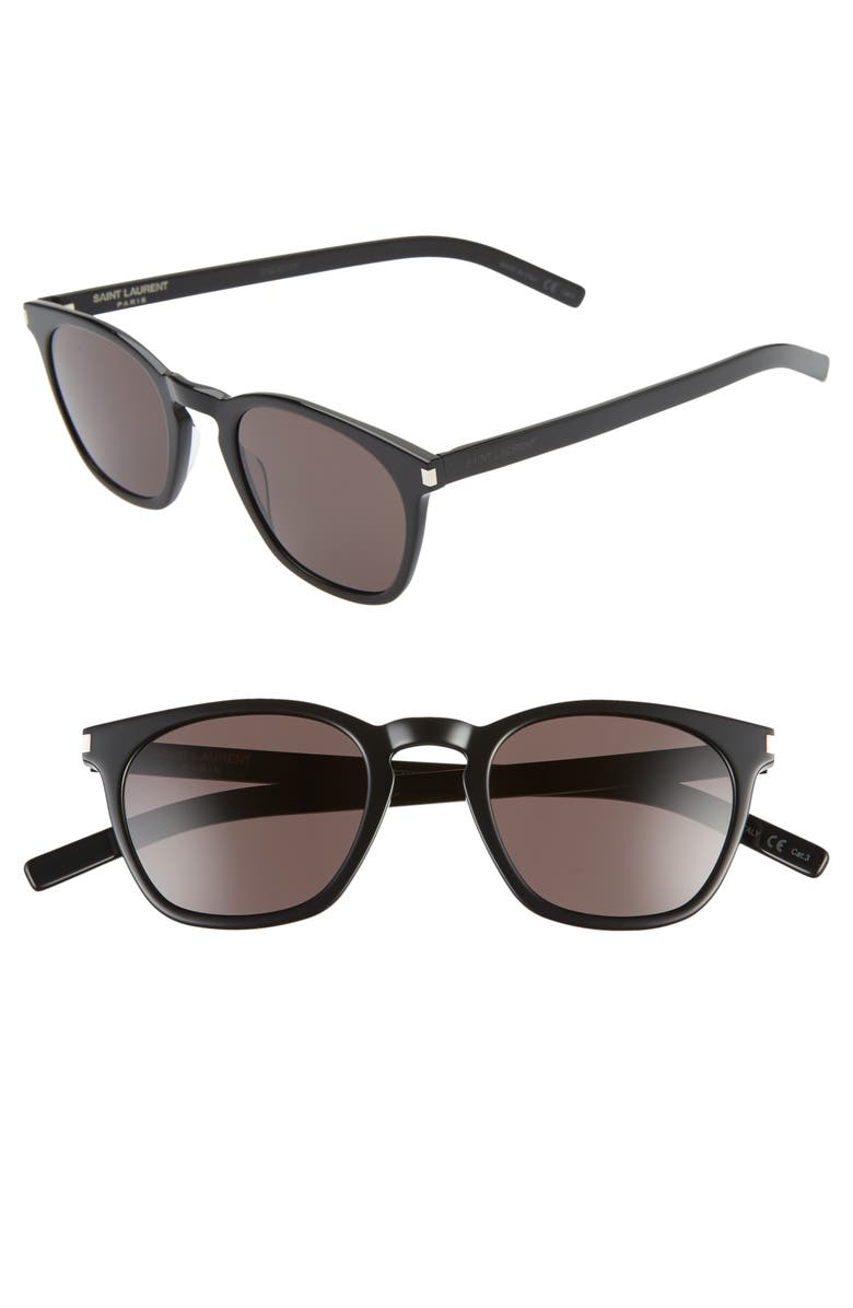 SAINT LAURENT 49mm Rectangular Sunglasses, Main, color, BLACK