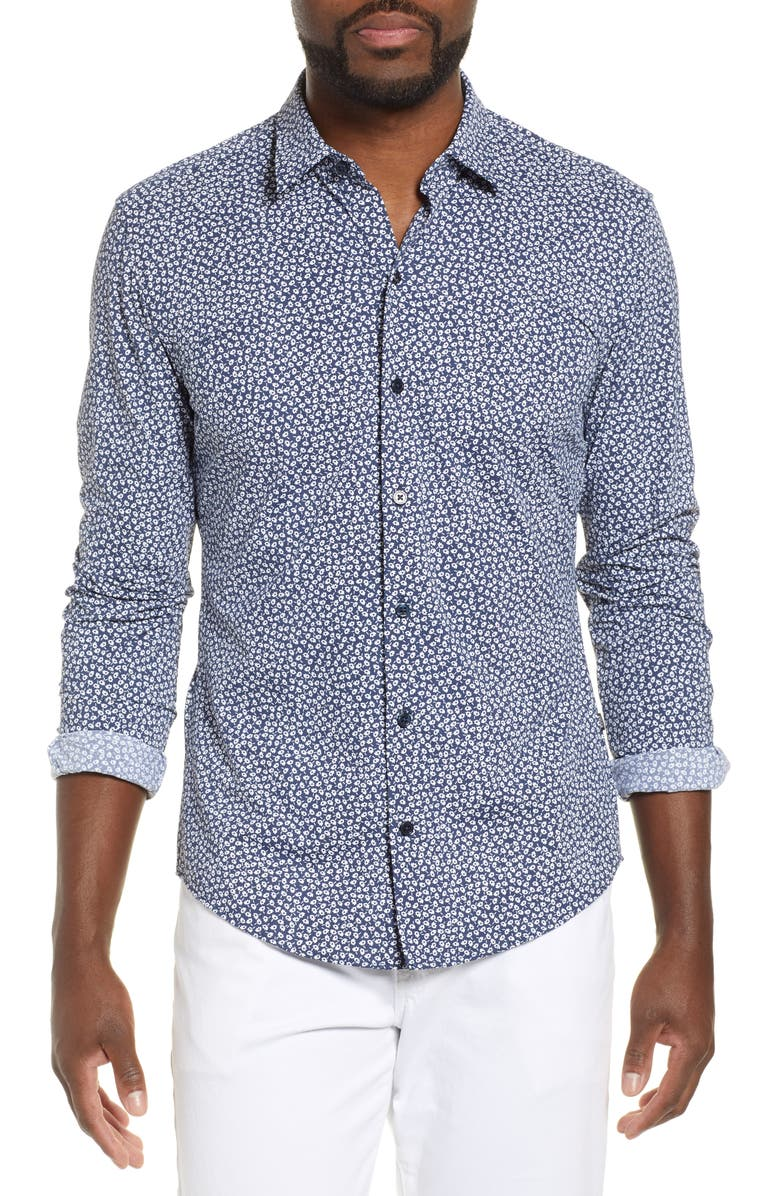 BOSS Robbie Sharp Fit Floral Performance Sport Shirt, Main, color, 481