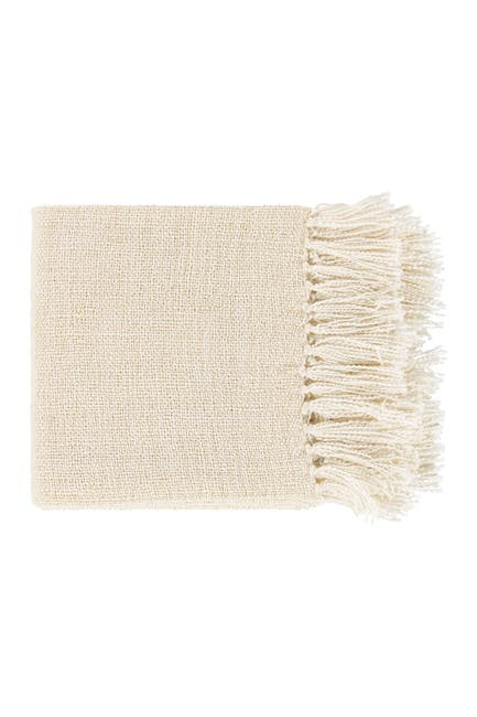 Image of SURYA HOME White Tilda Solid & Border Throw
