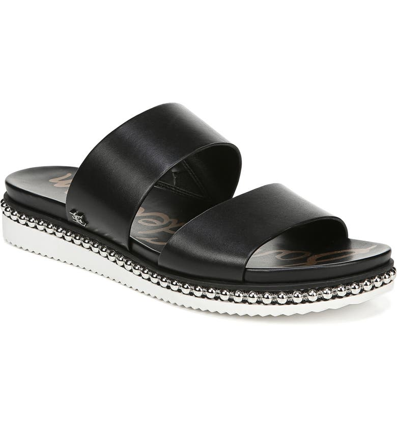 SAM EDELMAN Asha Slide Sandal, Main, color, BLACK LEATHER