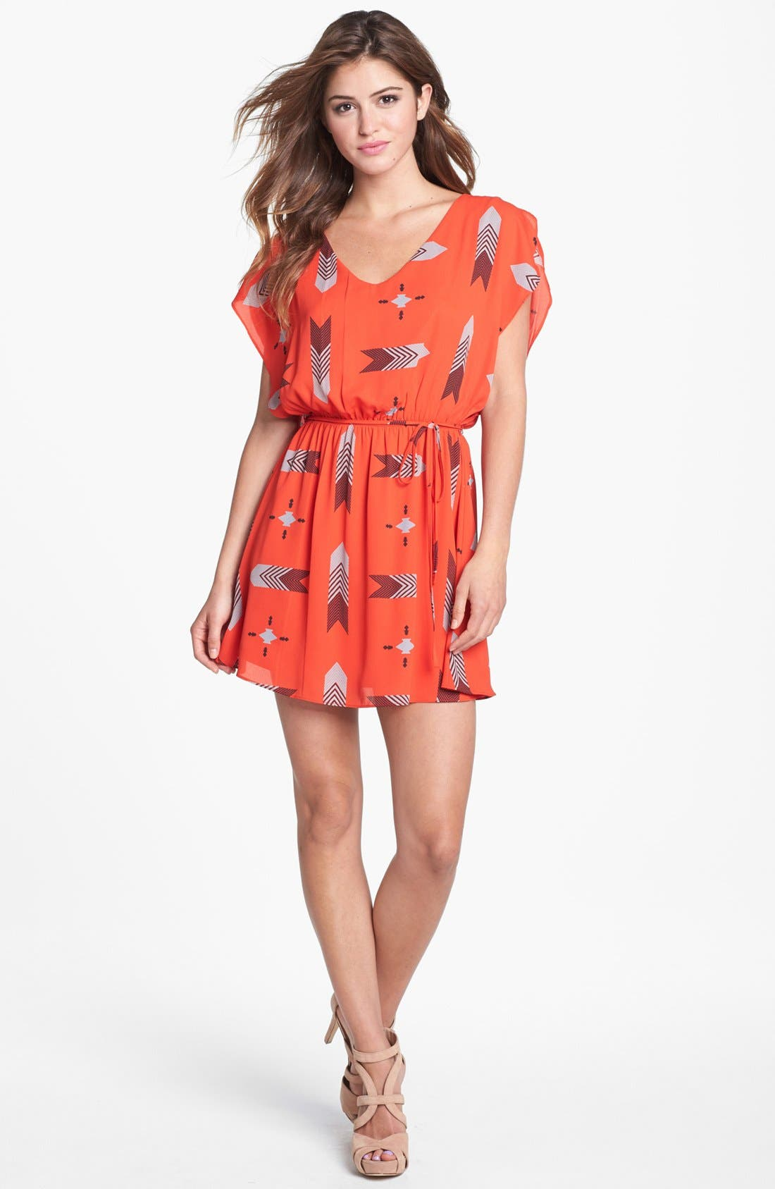 'Audrey' Print Flutter Sleeve Dress, Main, color, 601