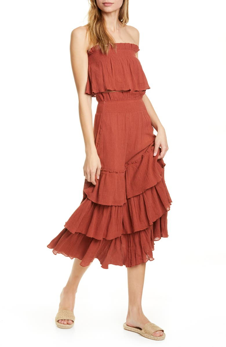 FREE PEOPLE Endless Summer by Free People Sea Breeze Strapless Crop Top & Midi Skirt, Main, color, ORANGE