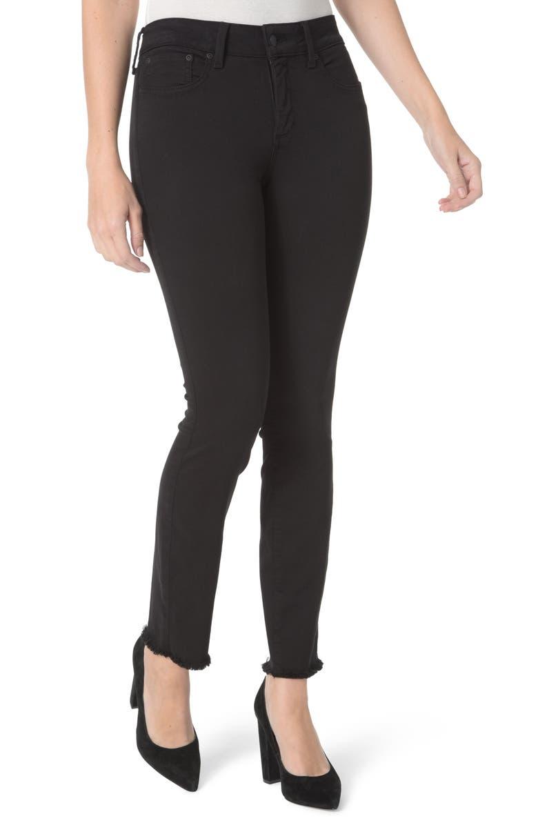 NYDJ Sheri High Waist Frayed Hem Stretch Slim Ankle Jeans, Main, color, 001