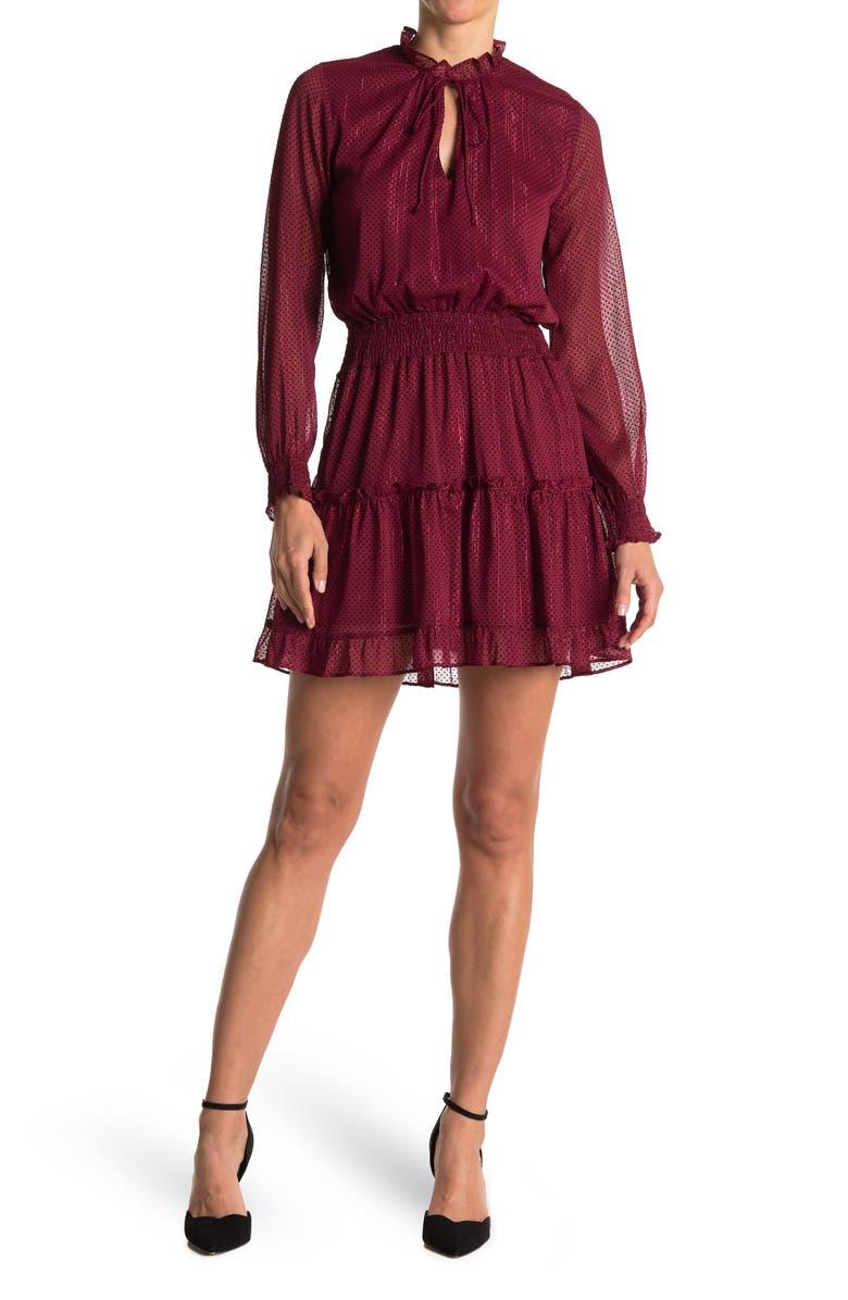 NSR Emma Floral Print Ruffle Dress, Main, color, RED / BLACK DOT