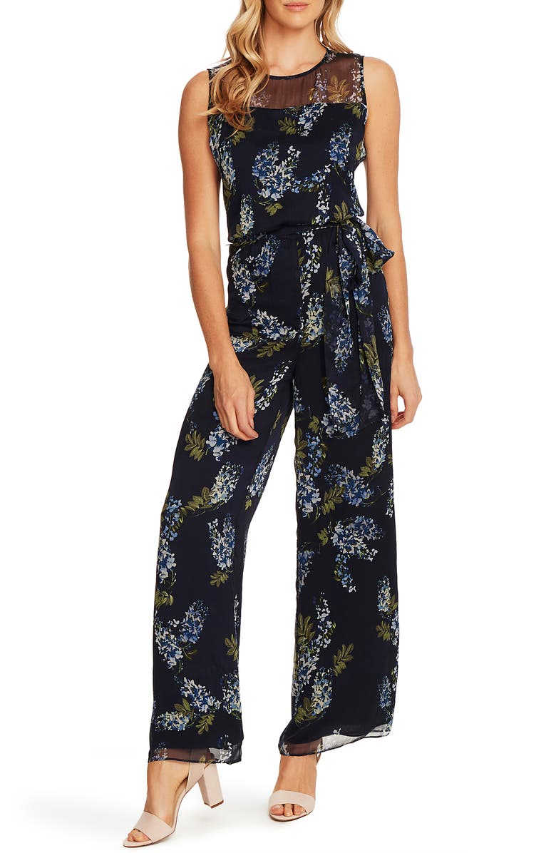 VINCE CAMUTO Weeping Willows Floral Sleeveless Jumpsuit, Main, color, 462