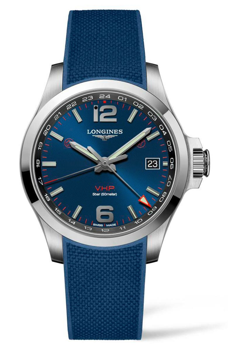 LONGINES Conquest V.H.P. Rubber Strap Watch, 41mm, Main, color, BLUE/ SILVER