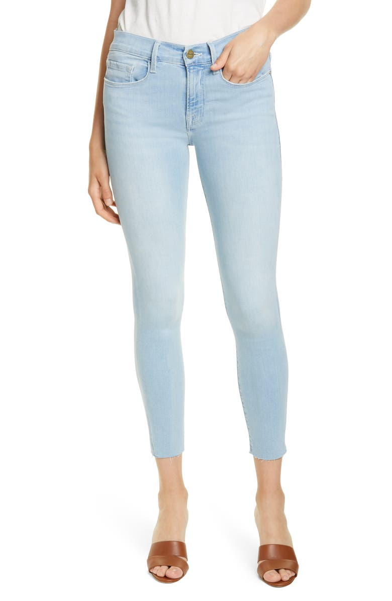 FRAME Le Raw Edge Ripped Crop Skinny Jeans, Main, color, SAVILLE