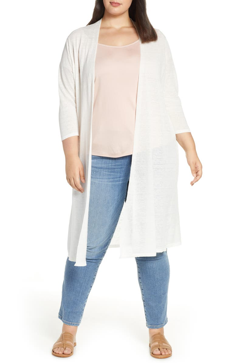 EILEEN FISHER Long Organic Linen Blend Cardigan, Main, color, 001