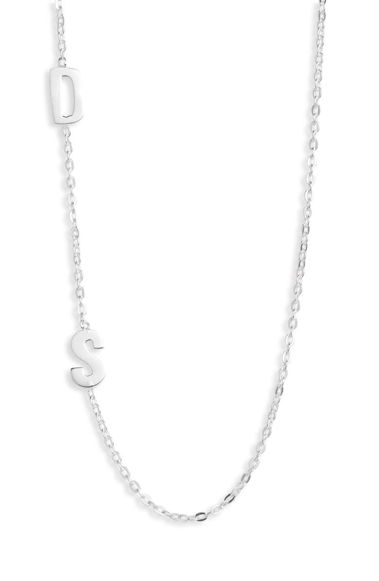 ARGENTO VIVO STERLING SILVER Argento Vivo Personalized Two Initial Necklace, Main, color, SILVER