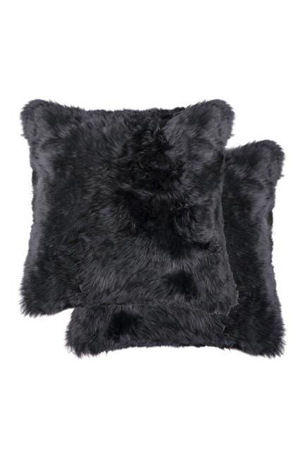"Image of Natural New Zealand Genuine Sheepskin Shearling Pillow - Set of 2 - 18"" x 18"" - Black"