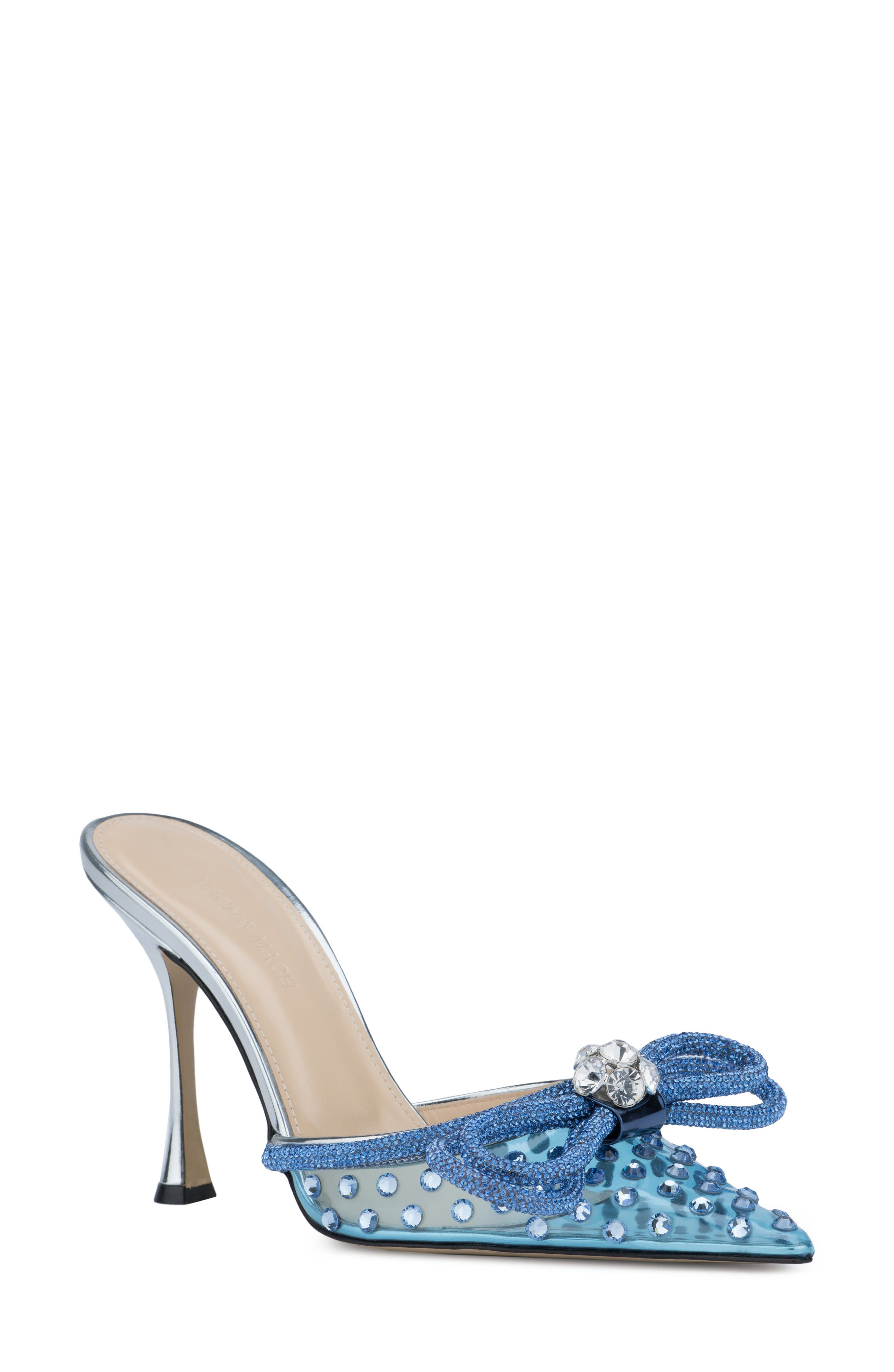 Double Crystal Bow Pointed Toe Mule