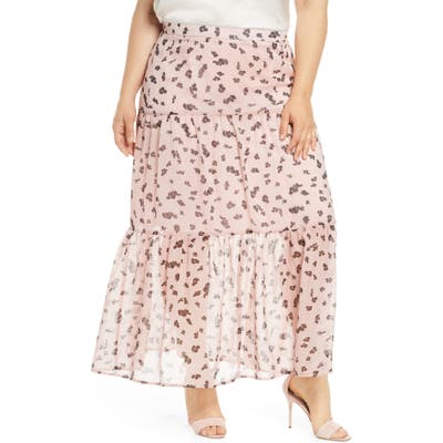 Plus Size Leith Tiered Maxi Skirt, Pink