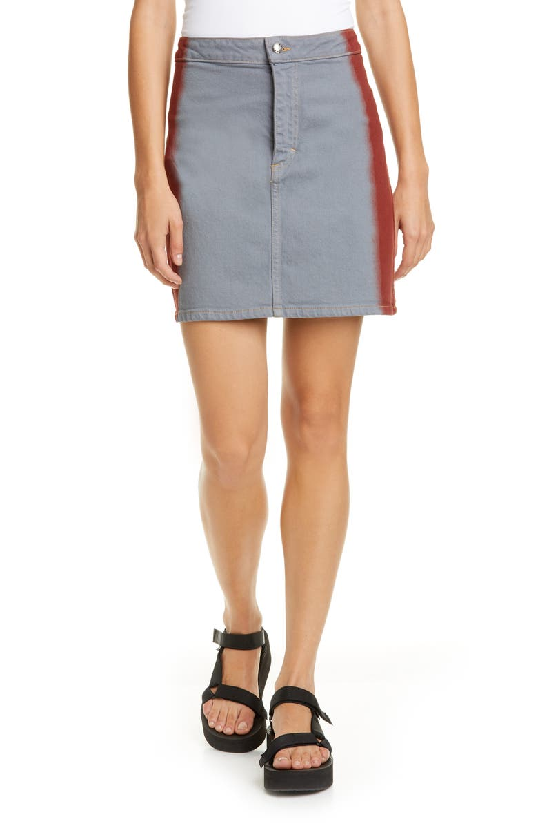 ECKHAUS LATTA EL Denim Miniskirt, Main, color, GREY RED TIP