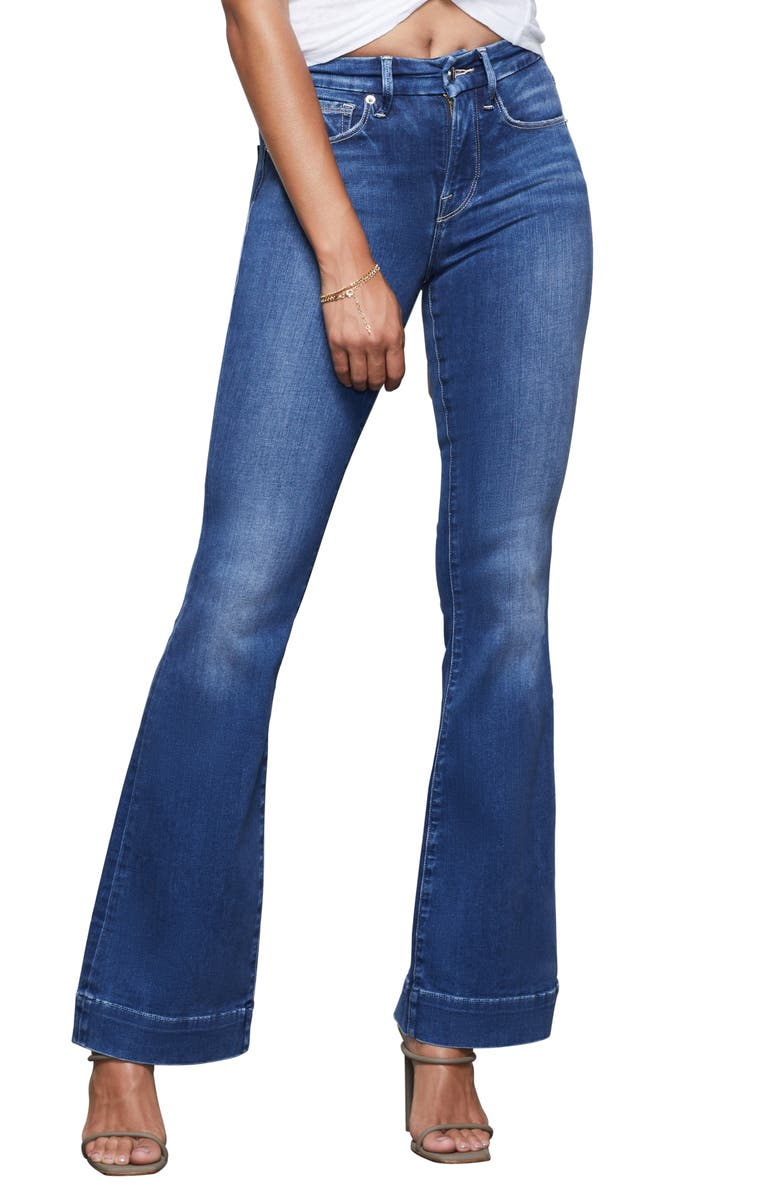 GOOD AMERICAN Good Flare Jeans, Main, color, BLUE363