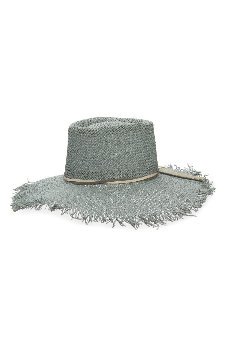 TREASURE & BOND Straw Boater Hat, Main, color, BLUE DUSTY COMBO
