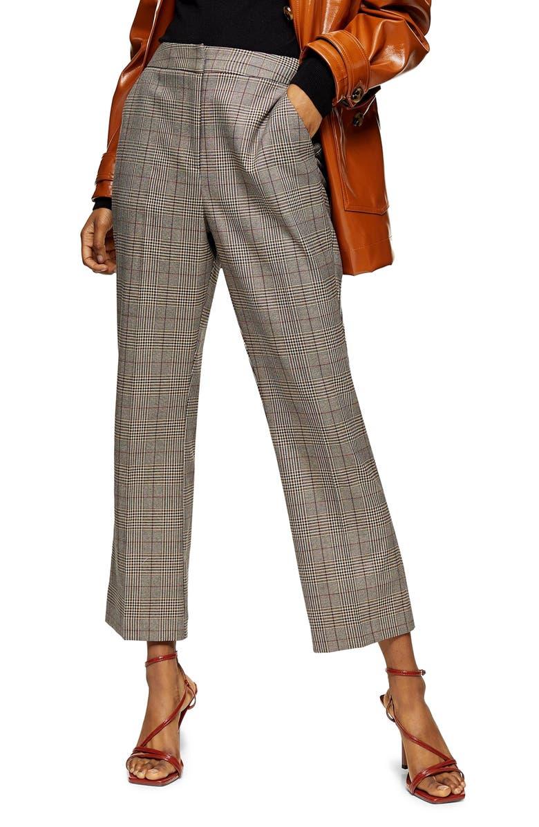 TOPSHOP Ella Check Flare Trousers, Main, color, BROWN
