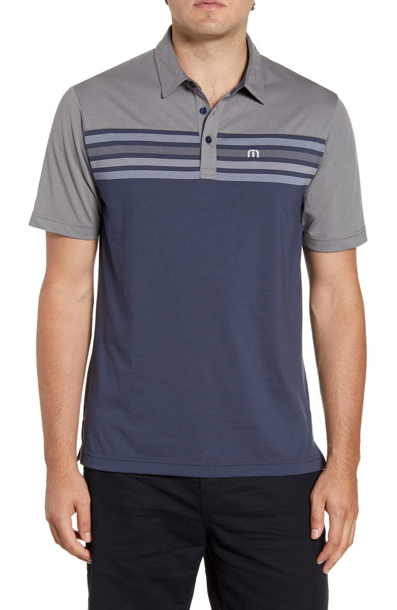 TRAVISMATHEW All Day Every Day Stripe Performance Polo, Main, color, QUIET SHADE