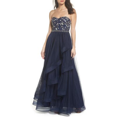 Sequin Hearts Strapless Lace & Tulle Gown, Blue