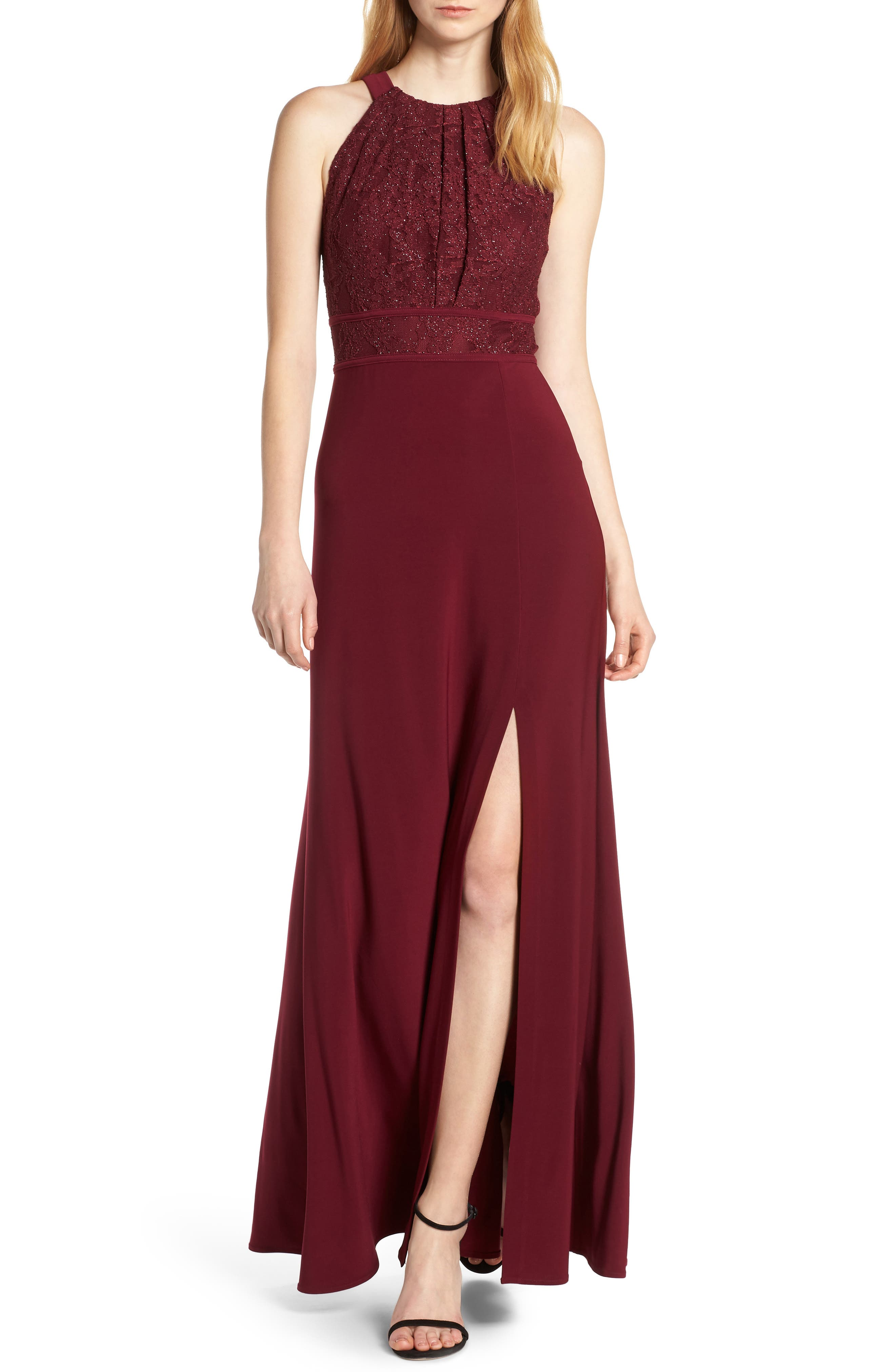 Morgan & Co. Pleat Lace Bodice Evening Dress, 5/16 - Burgundy