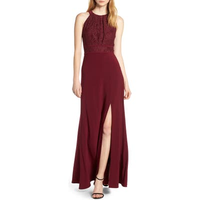 Morgan & Co. Pleat Lace Bodice Evening Dress, /12 - Burgundy