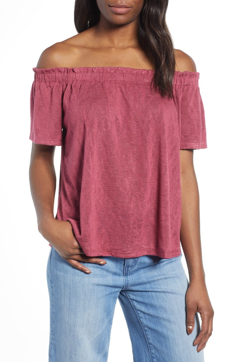 BOBEAU Carlee Off the Shoulder Top, Main, color, BERRY