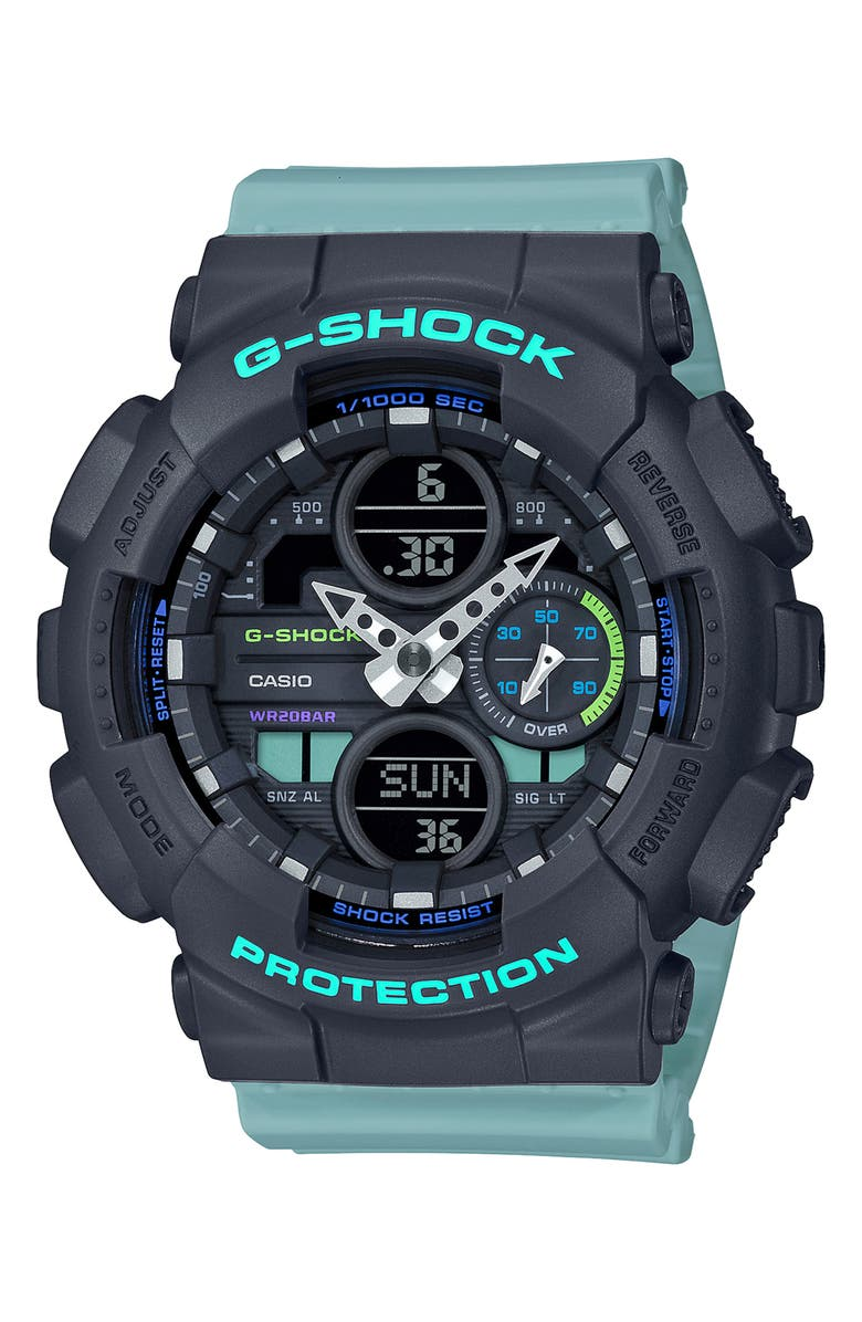 G-SHOCK BABY-G G-Shock S-Series Ana-Digi Resin Watch, 46mm, Main, color, BLUE/ BLACK