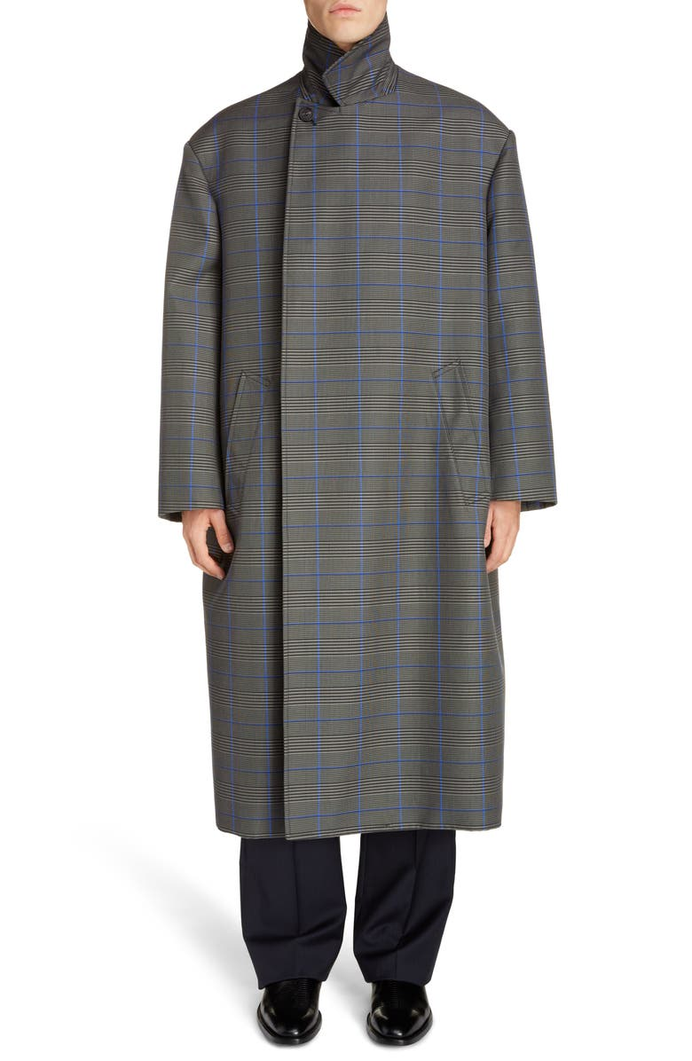 BALENCIAGA Longline Plaid Flap Coat, Main, color, GREY/BLUE