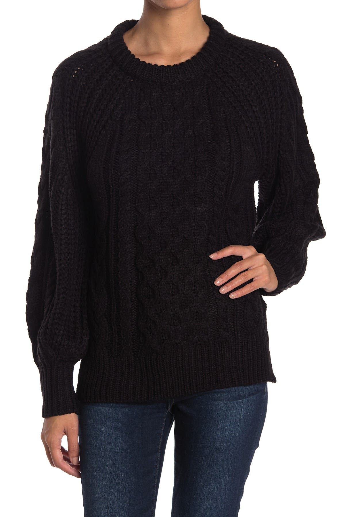 Image of RAG SUPPLY Cable Knit Balloon Sleeve Pullover Sweater